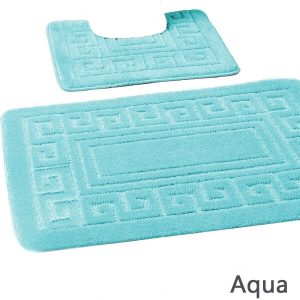 New Greek Style 2 Pcs Bath & Pedestal Mat Set