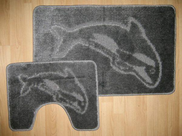 Dolphin Bath Mat & Pedastal Mat Set 2 Piece Non Slip Shower Toilet Floor Mats Bathroom Rug
