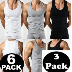 Mens Vest Underwear 100% Cotton Summer Weight Singlet