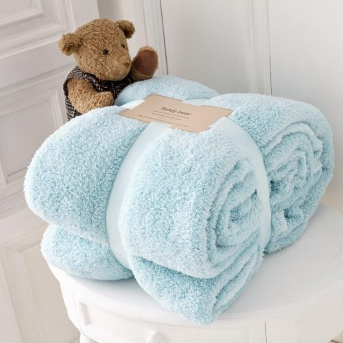 Teddy Bear Throw Blanket Super Soft Cuddly Warm Sofa Bed Double King All Colors