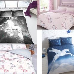Unicorn Horse Reversible Duvet Quilt Cover Bedding Set With Pillowcases All Size
