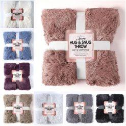 Hug & Snug Throw Soft Warm Cosy Sofa Bed Fleece Fluffy Blankets OR Cushion Cover