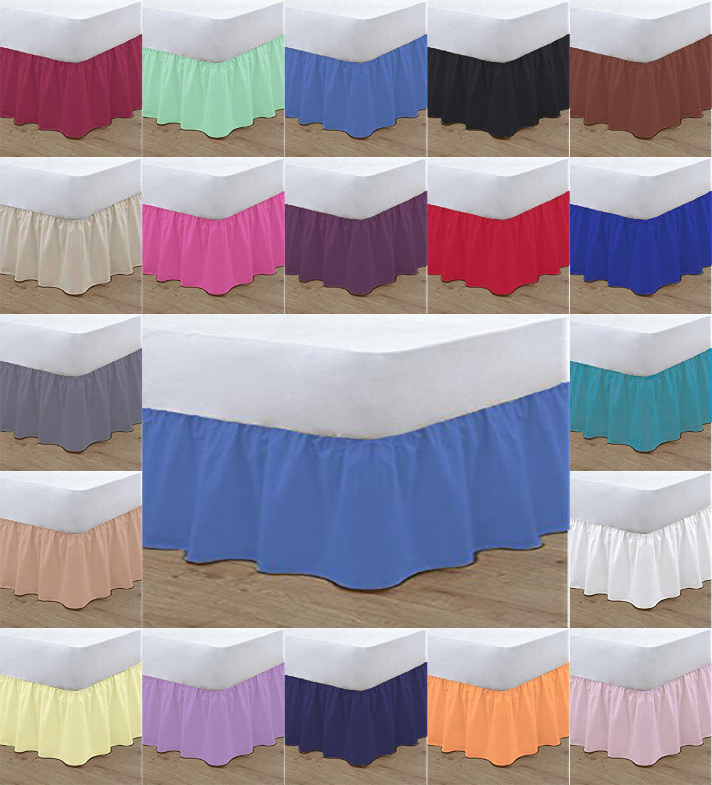 Plain Dyed Base Valance Sheet Polycotton Percale Easy Care