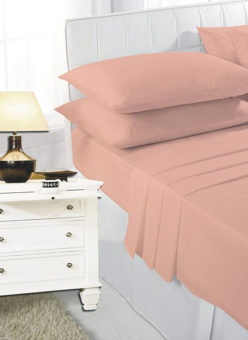 Plain Dyed Flat Polycotton Easy Care Bed Sheet , Matching Pillow Cases Sold Separately