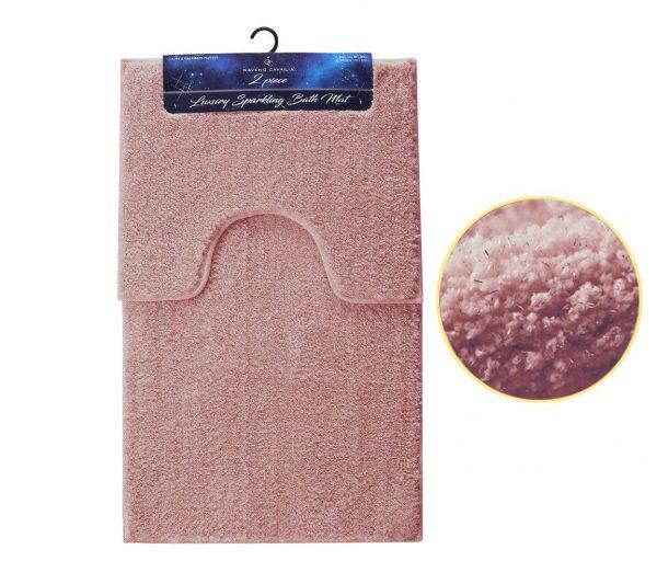 Sparkling Shiny Bath Mat and Padestal Mat Super Soft 2 PCs Luxury Bath Rug New