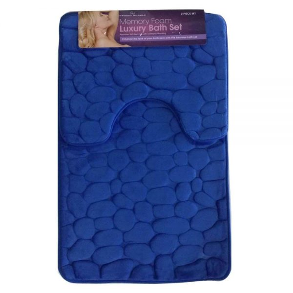 Memory Foam Bath Mat Set 2 Piece Non Slip Pedestal and Bath Mat Set Toilet Bathroom Rug New