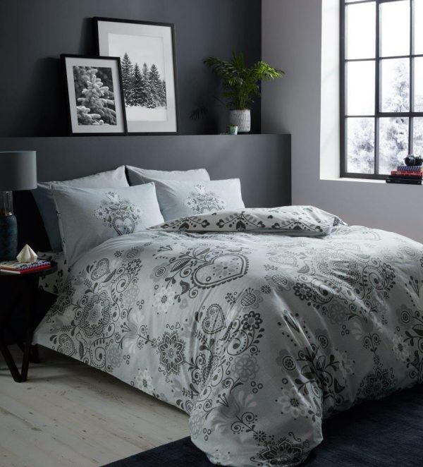 Flannelette Duvet Cover Bedding Set Matching Pillowcases 100% Brushed Cotton
