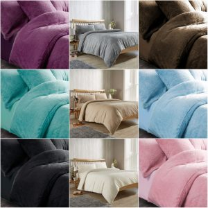 Fleece Duvet Cover Set With Pillowcases Teddy Fleece Warm and Cosy Cushion Cover