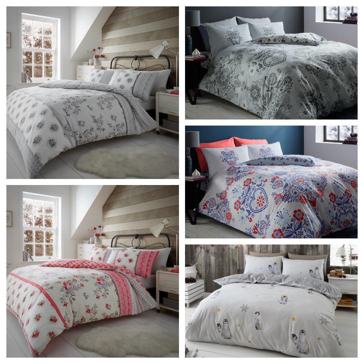 Flannelette Duvet Cover Bedding Set Matching Pillowcases 100