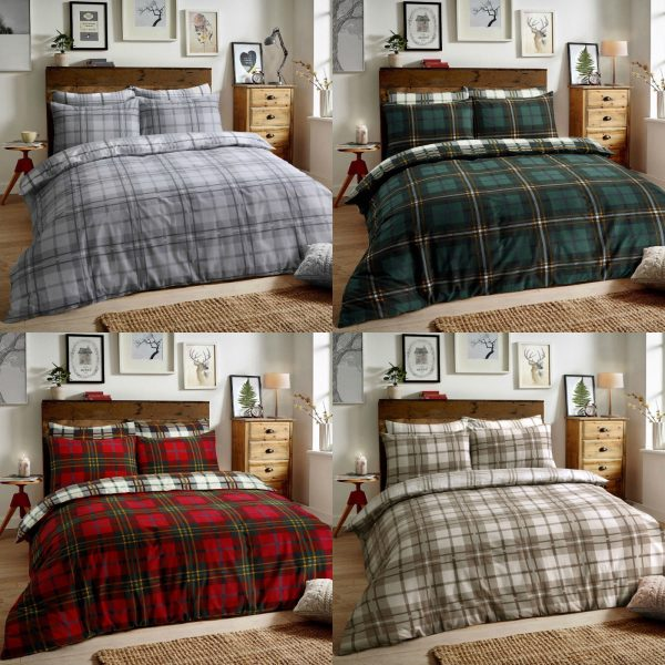 Flannelette Duvet Quilt Cover Bedding Set With Matching Pillowcase 100% Brushed Cotton Tartan Check