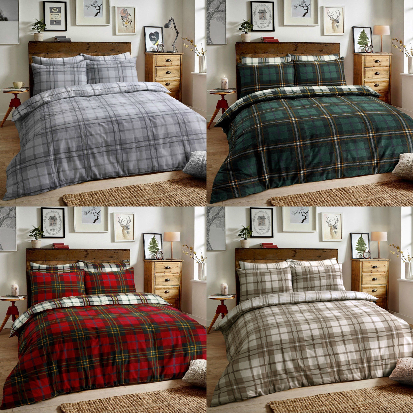 Flannelette Duvet Quilt Cover Bedding Set With Matching Pillowcase