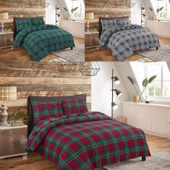 Flannelette Duvet Quilt Cover Reversable Bedding Set With Matching Pillowcases