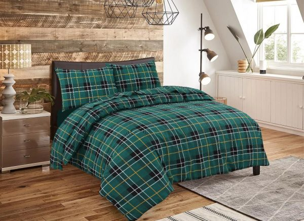 Flannelette Duvet Quilt Cover Reversable Bedding Set With Matching Pillowcases