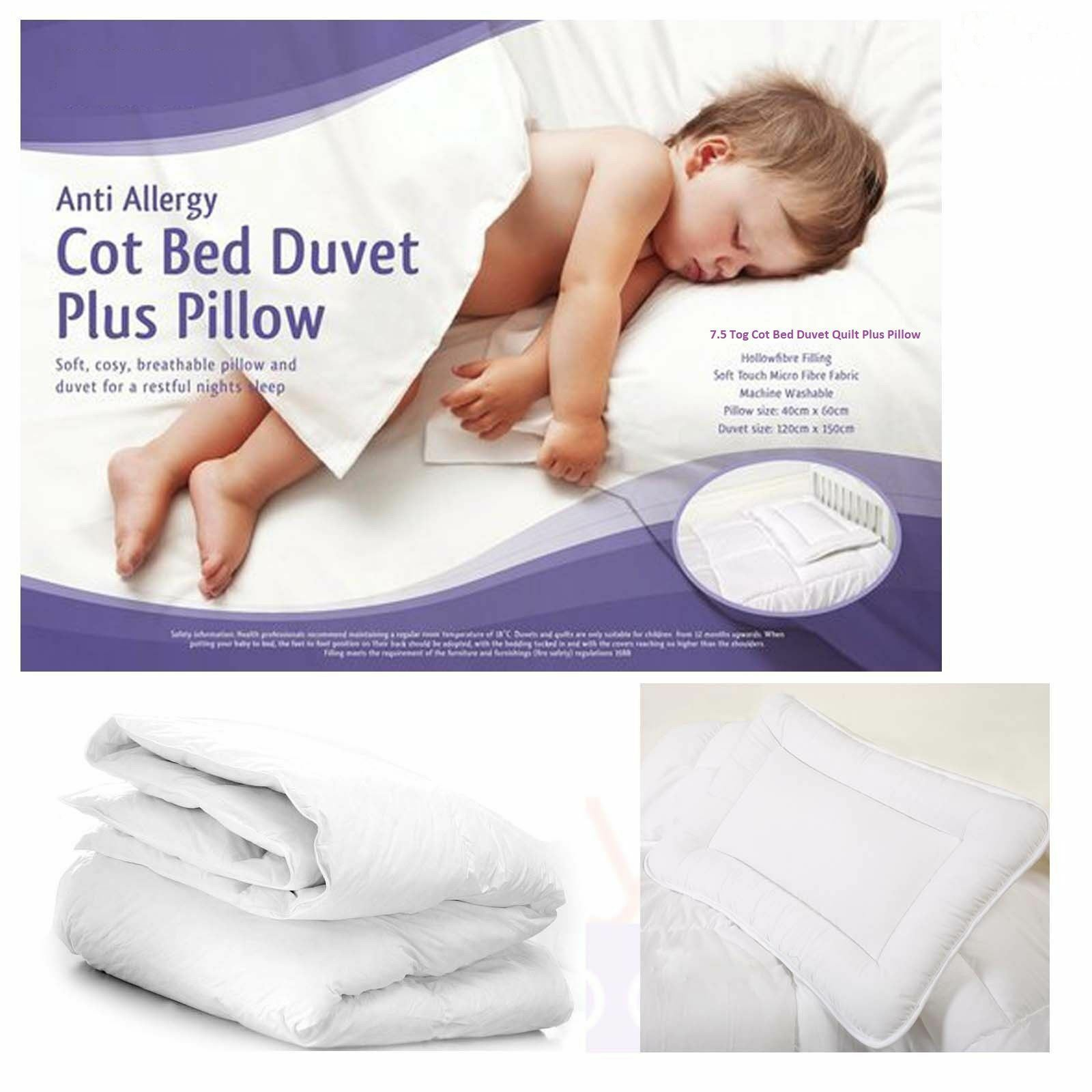 Cotbed Cosy Nights Anti-Allergy 4.5 Tog Duvet//Quilt /& Pillow
