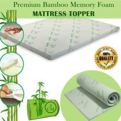 Bamboo Memory Foam Bed Mattress Topper 4cm