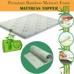 Bamboo Memory Foam Bed Mattress Topper 2cm